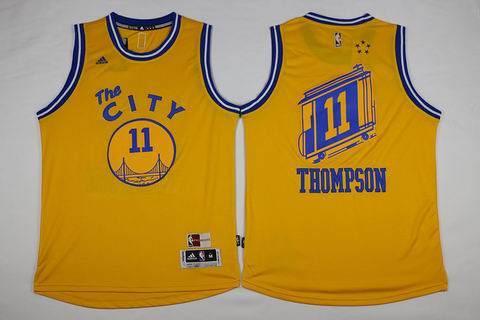 NBA Golden State Warriors #11 Thompson yellow the city jersey