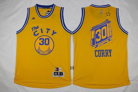 NBA Golden State Warriors #30 Curry yellow the city jersey
