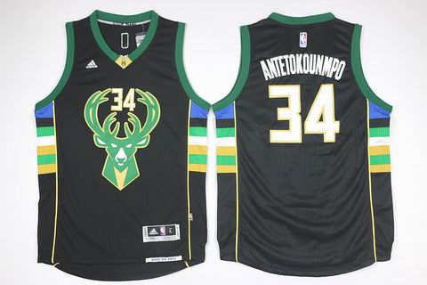 NBA Milwaukee Bucks #34 Antetokounmpo black jersey