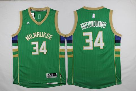 NBA Milwaukee Bucks #34 Antetokounmpo green jersey