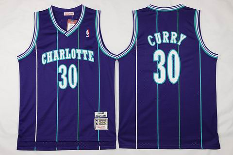 NBA New Orleans Hornets #30 Curry purple Jersey swingman