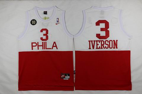 NBA Philadelphia 76ers #3 Allen Iverson jersey white red