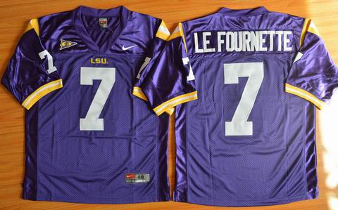 NCAA LSU Tigers #7 LE.FOURNETTE College football jersey purple
