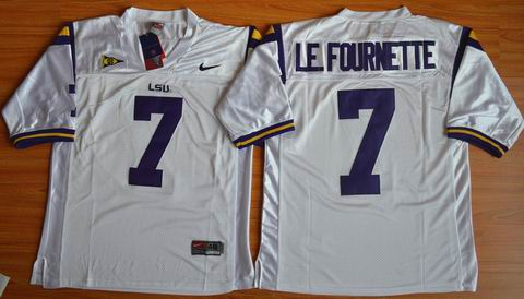NCAA LSU Tigers #7 LE.FOURNETTE College football jersey white