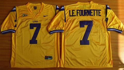 NCAA LSU Tigers #7 Leonard Fournette college Football Jersey - Gold