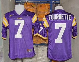 NCAA LSU Tigers 7 Fournette Purple college football jersey