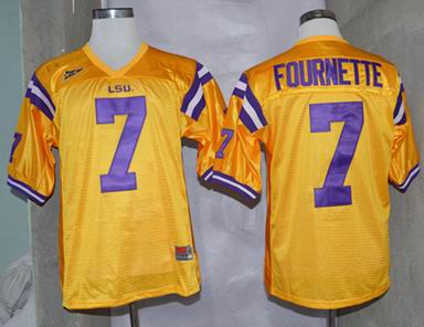 NCAA LSU Tigers 7 Fournette golden college football jersey