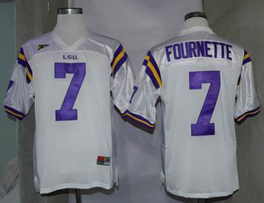 NCAA LSU Tigers 7 Fournette white college football jersey