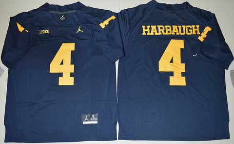NCAA Michigan Wolverines #4 Jim Harbaugh College Football Jersey navy blue