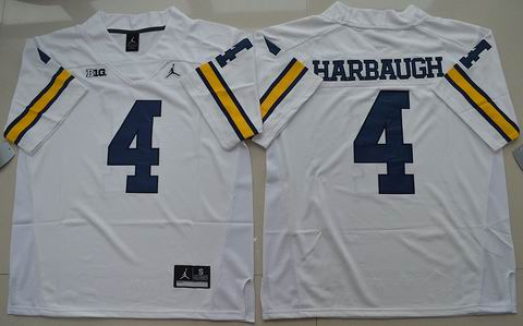 NCAA Michigan Wolverines #4 Jim Harbaugh College Football Jersey white