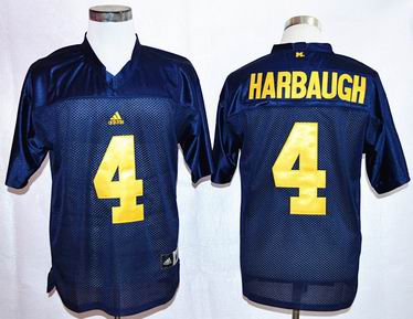 NCAA Michigan Wolverines 4 Harbaugh Navy Blue College Football Jersey