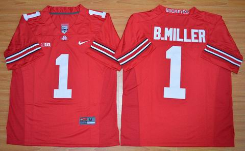 NCAA Ohio State Buckeyes #1 B.Miller red college football jersey