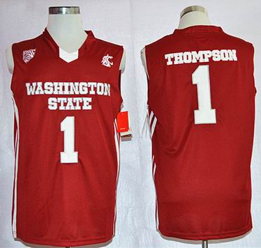 NCAA Washington State Cougars 1 Klay Thompson College Basketball Jersey Red