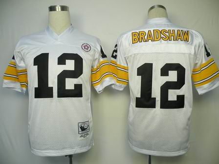 NFL Pittsburgh Steelers 12 Bradshaw throwback white jersey