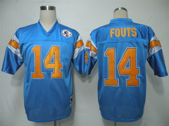 NFL San Diego Chargers 14 Fouts throwback light blue jersey