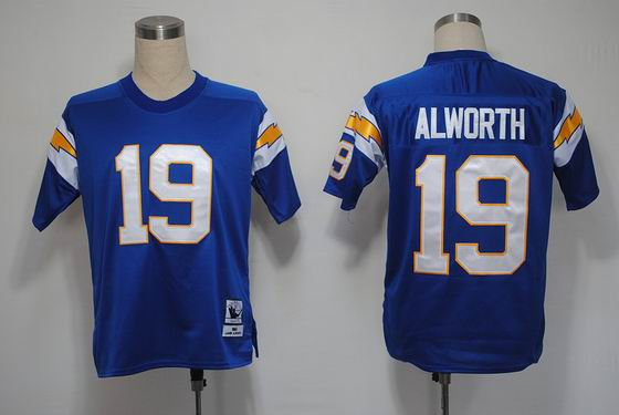 NFL San Diego Chargers 19 Alworth throwback navy blue jersey