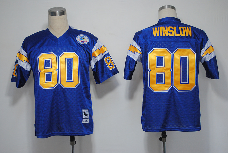 NFL San Diego Chargers 80 Winslow throwback navy blue jersey
