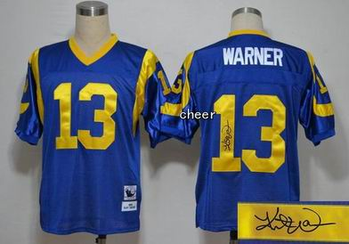 NFL St. Louis Rams 13 Warner blue throwback Jersey Autograped