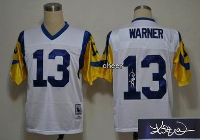 NFL St. Louis Rams 13 Warner white throwback Jersey Autograped