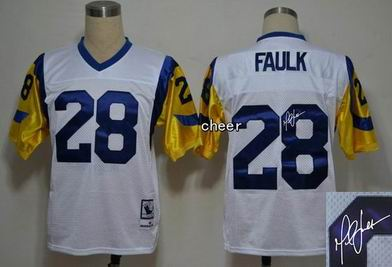 NFL St. Louis Rams 28 Faulk white throwback Jersey Autograped