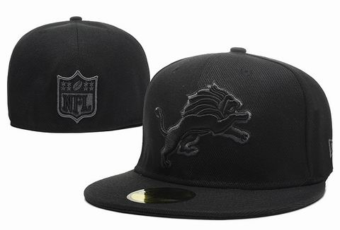 NFL detroit lions fitted cap all black