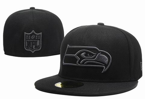 NFL seattle seahawks fitted cap all black