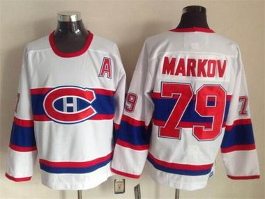 NHL Canadiens #79 Markov white jersey A patch