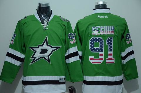 NHL Dallas Stars #91 seguin green Jersey USA Flag