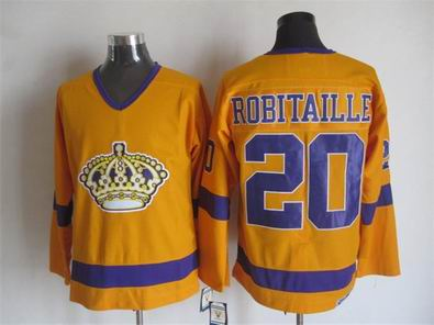 NHL Los Angeles Kings 20 Robitaille yellow jersey
