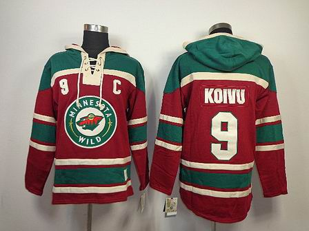 NHL Minnesota Wild 9 Koivu red Hoodies Jersey