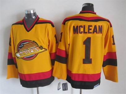 NHL Vancouver Canucks 1 Mclean yellow jersey