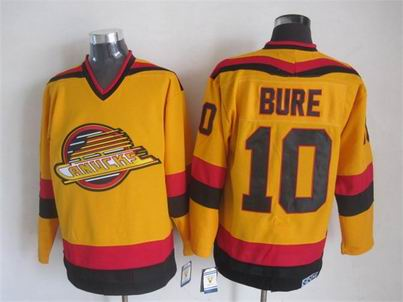 NHL Vancouver Canucks 10 Bure yellow jersey