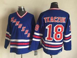 NHL new york rangers #18 Tkaczuk blue jersey