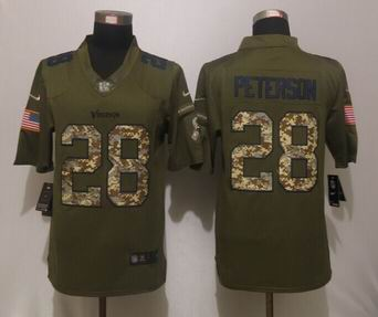Nike Minnesota Vikings 28 Peterson Green Salute To Service Limited Jersey