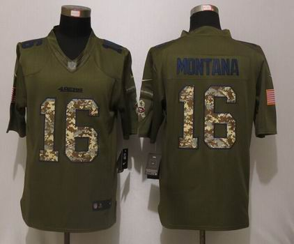 Nike NFL San Francisco 49ers 16 Montana Green Salute To Service Limited Jersey