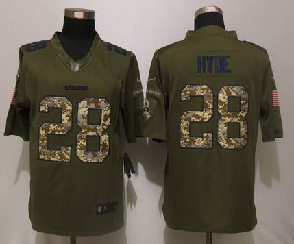 Nike NFL San Francisco 49ers 28 Hyde Green Salute To Service Limited Jersey