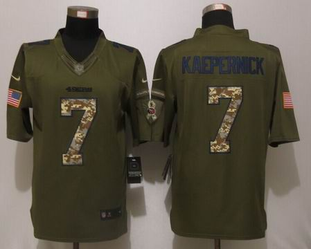 Nike NFL San Francisco 49ers 7 Kaepernick Green Salute To Service Limited Jersey
