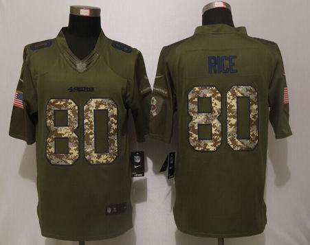 Nike NFL San Francisco 49ers 80 Rice Green Salute To Service Limited Jersey