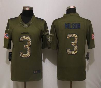 Nike NFL Seattle Seahawks 3 Wilson Green Salute To Service Limited Jersey
