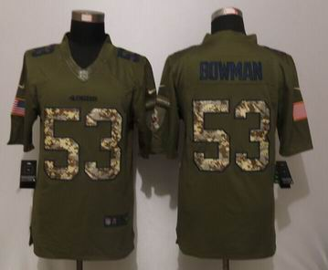 Nike San Francisco 49ers 53 Bowman Green Salute To Service Limited Jersey