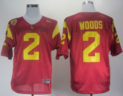 Nike USC Trojans Robert Woods 2 Red Pac-12 Patch College Football Jersey