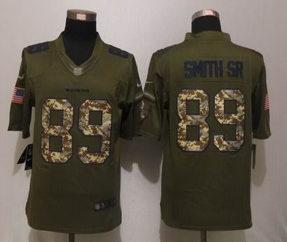 Nike nfl Baltimore Ravens 89 Smith sr Green Salute To Service Limited Jersey