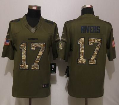 Nike nfl Chargers 17 Rivers Green Salute To Service Limited Jersey