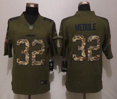 Nike nfl Chargers 32 Weddle Green Salute To Service Limited Jersey