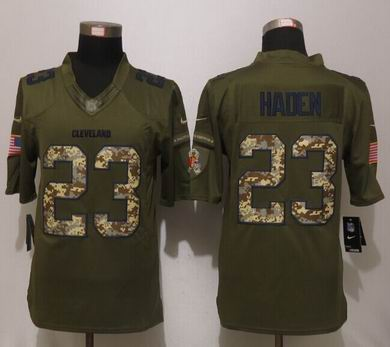Nike nfl Cleveland Browns 23 Haden Green Salute To Service Limited Jersey