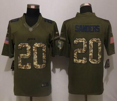 Nike nfl Detroit Lions 20 B.Sanders Green Salute To Service Limited Jersey