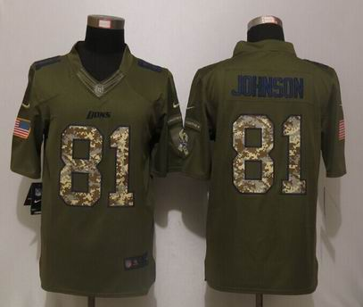 Nike nfl Detroit Lions 81 Johnson Green Salute To Service Limited Jersey