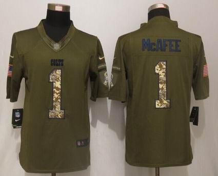 Nike nfl Indianapolis Colts 1 McAfee Green Salute To Service Limited Jersey