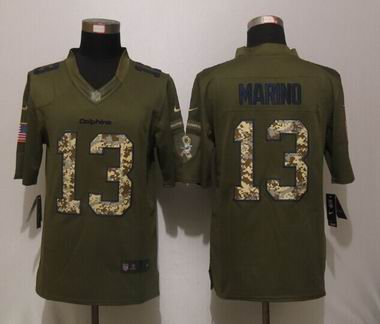 Nike nfl Miami Dolphins 13 Marino Green Salute To Service Limited Jersey