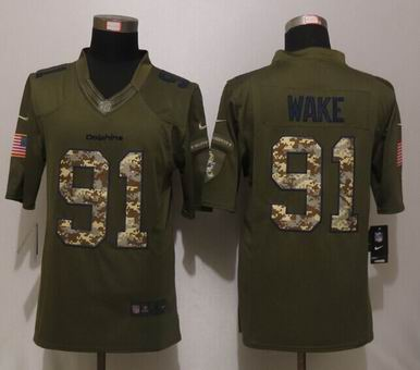 Nike nfl Miami Dolphins 91 Wake Green Salute To Service Limited Jersey